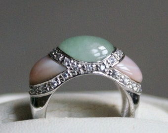 Compelling MOP, CZ, Silver Ring