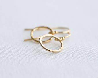 Gold hoop earrings - gold circle earrings - hammered hoops - gold earrings - gift for her - gold jewelry - small gold earrings