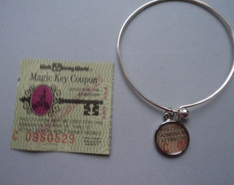 Vintage Disney ticket bangle bracelet Disney World Magic Key Coupon C