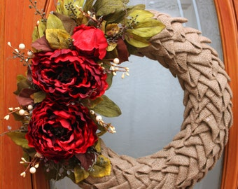 Burlap Petal Wreath with Red Peonies and Greenery. Spring Wreath. Summer Wreath. Fall Wreath. Rustic Wreath.