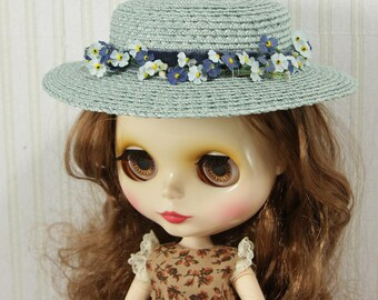 """Blythe Premium straw doll hat, XL size, blue flat hat with forget-me-not, for Blythe and other dolls, for head circumference 10-11.5"""""""