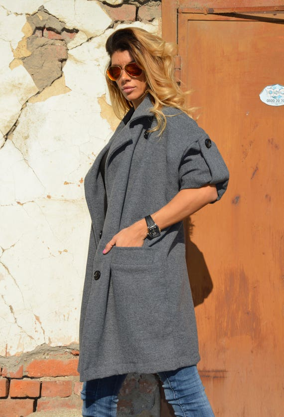 by Asymmetrical Loose Coat Coat Casual Cashmere Women's Cardigan Grey SSDfashion Maxi Dark Extravagant aHwfnP8