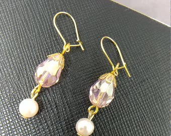 Lenore: Light pink crystal teardrop with glass pearl
