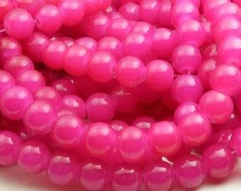 10mm Magenta Round Glass Beads - Smooth, Shiny Beads - 20pcs - BN7