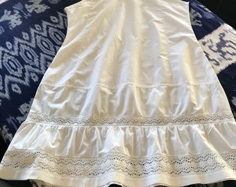 Antique French chemise/ slip/camisole/ nightgown shabby chic , boho, hippie Large white cotton 1800s Handmade Embroidery , Victorian