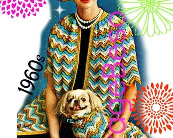 Ladies Coat CROCHET Pattern • PdF Pattern • Matching Set • Ripple Coat Crochet Pattern Digital Pattern • Dog Sweater Hat Cap • Vintage 1960s