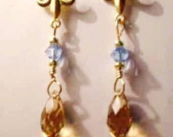 Antique Topaz & Sapphire Swarovski Crystal Earrings w Fleur de Lis Accents