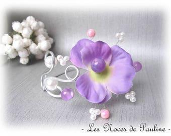 Purple, white wedding bracelet and pink b David