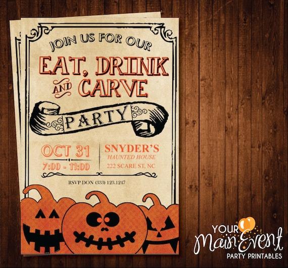Pumpkin Carving Party Invitation / Halloween Party Invites / Halloween Invitation / Halloween Bash