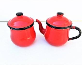 Vintage Enamelware   Enamel Tea Pot   Enamel Sugar Bowl   Cream Pitcher    Orange Black   Sugar Creamer Set