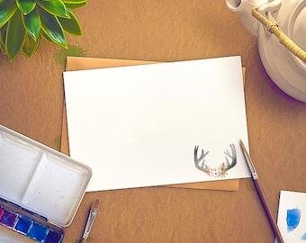 Deer Antlers + Flower Bouquet Stationery - Set of 12 Correspondence Cards