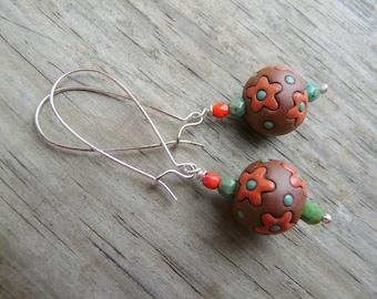 Handmade Fern Green and Persimmon Flower Dangle Earrings.  Golem Bead Focal.  Gift for Her.
