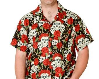 Feak Shirt for Men Skull and Roses, Halloween Shirt, Hawaiian Shirt, Hawaiian Shirt Men, Mens Hawaiian Shirt, Tropical Summer Surf Shirt