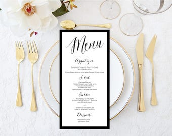 Wedding Menu 4x9 - Shower Menu-Dinner Party Menu