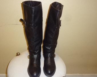 Black Leather Chloe Biker Knee Boots 39/9M