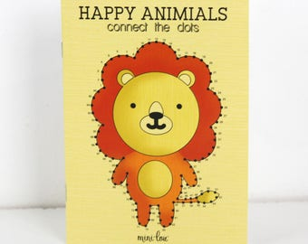 Happy Animals Connect the Dots Coloring Book