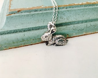 Bunny Rabbit Necklace, silver bunny, rabbit pendant, sterling silver chain, simple necklace