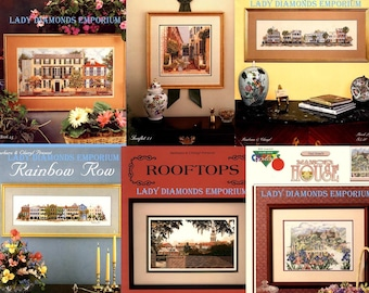 Your Choice of Six Vintage Counted Cross Stitch Charts, Manor House, Church Street, Rooftops, Queen Street Alley