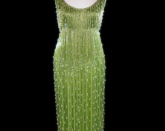 Heavily beaded gown, 1950s 1960s pearl glass beaded tank dress, Samuel Winston, couture red carpet gown, solidly beaded, green