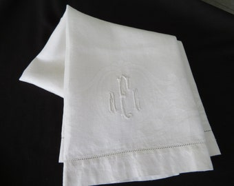 Vintage damask hand guest towel monogram MEC 1950 bath accessories bridal gift shabby chic