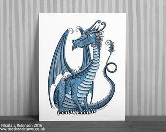 Blue Dragon Wall Art, Dragon For Kids Room, Dragon Art Print Illustration, Fantasy Illustration, Dragon Decor, Nursery Dragon Art