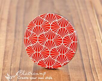20% off -2Pcs 45mm Unique 3D Embossed Big Round Handmade Geometry Wood Cut Cabochon  to make Necklaces, Bracelets-(WI-B-35)
