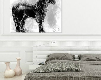 Black horse painting // horse print // equestrian art // equine art // gifts for horse lovers // horsey gifts // horse wall art