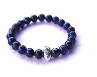 Mens bracelet - Lapis Lazuli - Rugby ball - elastic Bracelet - Bracelet gemstones - Crystal healing