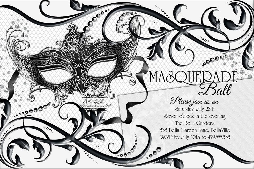Black White Masquerade Party Quinceanera Masquerade