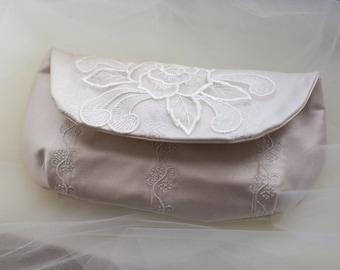 Bridal Clutch Embroidered Tulle