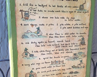 Laundry Room decor/ Wood plaque with recipe for washing clothes/ Kentucky grandmother's recipe for washing clothes/ onlyformejewelry/ gift