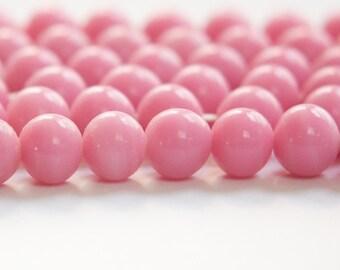 Vintage Opaque Pink Glass Beads Japan 8- 9mm (6) jpn005B