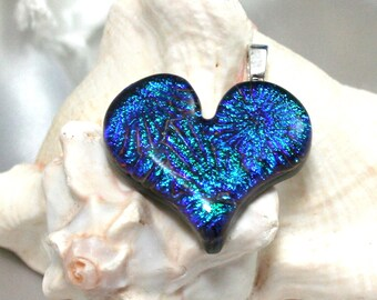 Green Turquoise Heart Fused Glass Pendant Dichroic Heart, Fused Glass Heart, Dichroic Pendant, Blue Heart Jewelry, Handmade Heart