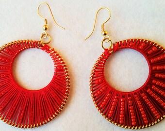 Hoop Earrings, Brass Hoop Earrings, Cotton Hoop Earrings, Beaded Earrings  Boho Earrings, Hooped Earrings, Gypsy Style Earrings, Jewellery,