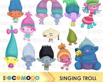 Singing Trolls Clipart, Trolls Clip Art, Cute Monster Png, Cute Kid Clipart, Fantasy Clipart, Fairy Tale Clipart, Digital Clipart