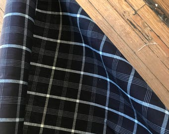 Navy and White Plaid Cotton
