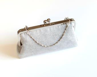 Clasp Purse, Metal Frame Purse, Metallic Linen Bag, Kiss Lock Clutch, Simple Bag, Small Purse, Silver Bag, Party Clutch, Vintage Accessory
