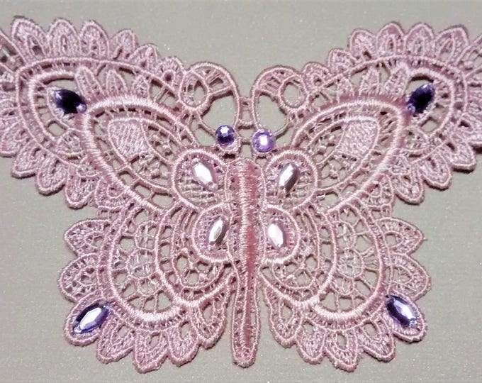 Featured listing image: SE-102 Pink Butterfly Applique with Rhinestones