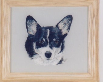 Framed Pet Portrait, corgi portrait, black, white, gray, head portrait of pet, handmade  hardwood frame, acrylic on wood
