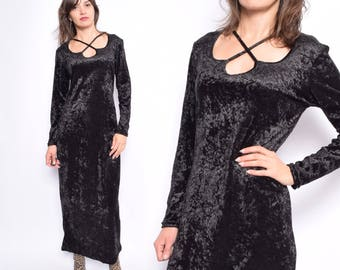 Vintage 90's Black Velvet Maxi Dress / Long Sleeve Maxi Velvet Dress - Size Medium