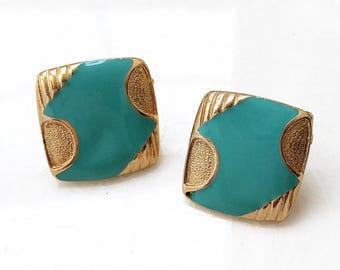 bold nos 80s 90s vintage aqua turquoise blue enamled gold tone metal pierced earrings