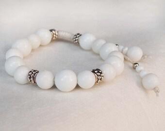 Snow White Agate Bracelet, Boho Wedding Stone Bracelet,  White Stone Boho Bracelet, Shamballa Bracelet