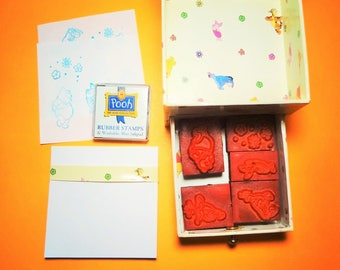 Box of FIVE (5) WINNIE the  POOH Rubber Stamps, Paper and Ink Pad