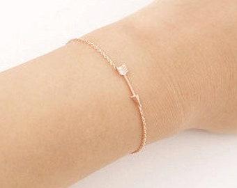 Delicate arrow bracelet - arrow chain bracelet, rose gold, gold filled, sterling silver bracelet, dainty chain, minimal bracelet, stacking