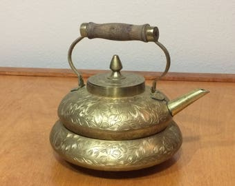 Brass Etched Teapot with Cup - Made in India