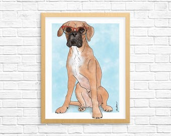 Dog Art Print, Boxer Art, Boxer Wall Art, Boxer Print, Dog Lover Gift, Pet Portrait, Dorm Decor, Home Decor, Nursery Art