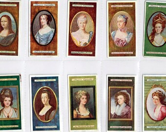 """British Cigarette Card Set of 25 Cards. """"Miniatures"""" Portraits of Beautiful Ladies  Issued in 1923 by John Player Cigarettes."""