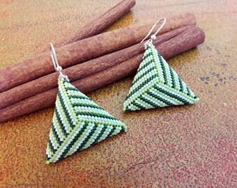 Triangle Green earrings//striped pendant earrings//beaded earrings//gift Idea//Peyote Earrings
