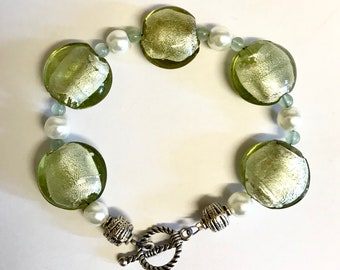 Czech glass and green aventurine and pearl bracelet