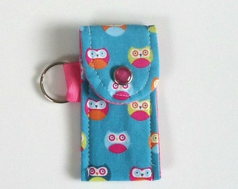 Lip balm keyring Lip balm holder with Wise Owls, gift for her or for kids under 10 dollars
